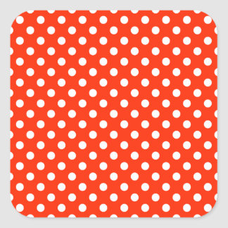 Polka Dots - White on Bright Red Square Sticker