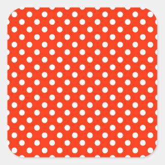 Polka Dots - White on Bright Red Square Sticker