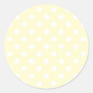 Polka Dots - White on Cream Round Sticker