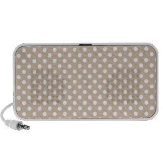 Polka Dots - White on Dark Vanilla Travel Speakers