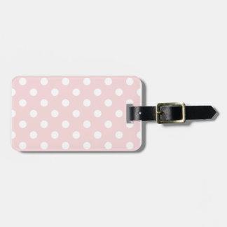 Polka Dots - White on Pale Pink Bag Tag