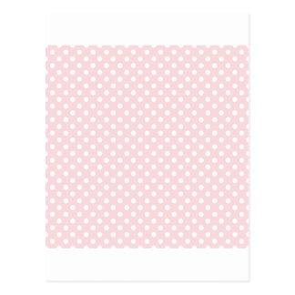 Polka Dots - White on Pale Pink Postcard