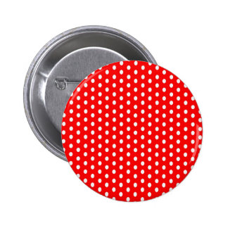 Polka dots white on red 6 cm round badge