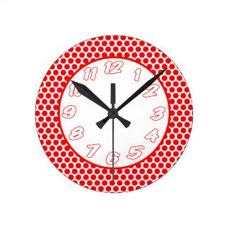Polka Dots- White & Red Round Clock
