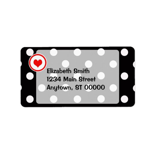 Polka Dots with a Heart V6 Label