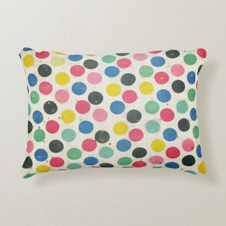 Polka Dots with Gold Stars, multi-colored Stripes Decorative Cushion