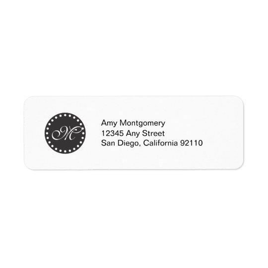 Polka Dots with Monogram label -black Return Address Label