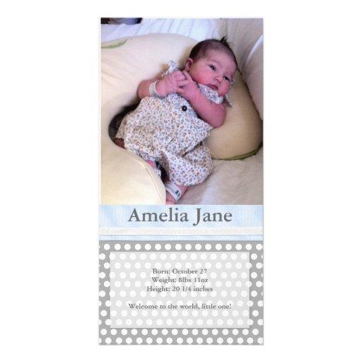 Polka Dots With Ribbon - Birth Announcement Photo Card