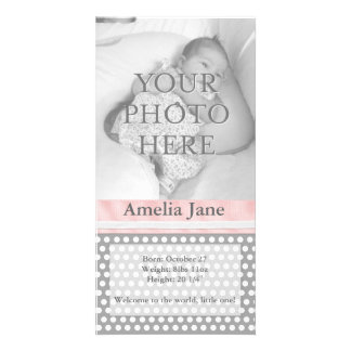 Polka Dots With Ribbon - Birth Announcement Picture Card