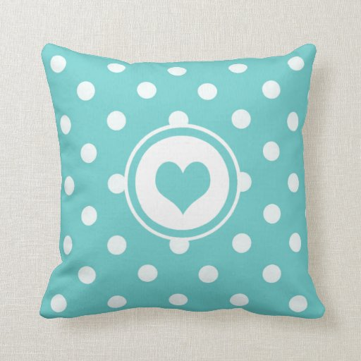Polka Dots with Teal Blue Heart Pillow