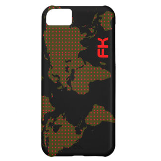 polka dots world map red initials iPhone 5C case