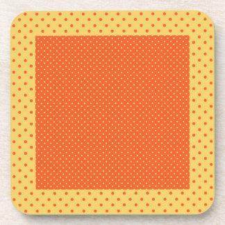 Polka dots, yellow, orange coaster