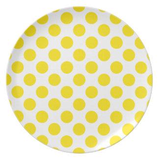 Polka Dots Yellow Dinner Plate