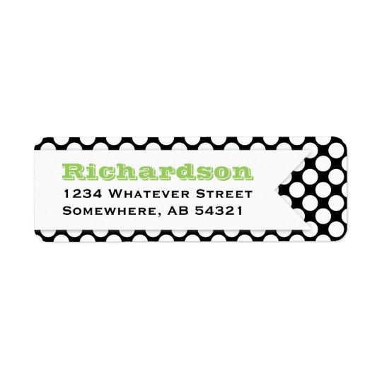 Polka Dotted Banner BLACK WHITE LIME GREEN Return Address Label