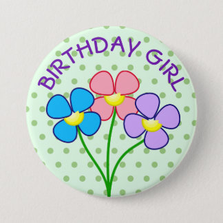 Polka Dotted Birthday Girl Button