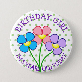 Polka Dotted Birthday Girl Button 5 Years
