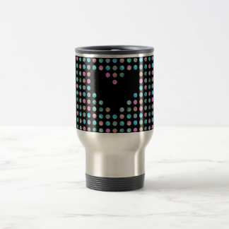 Polka dotted with black heart travel mug