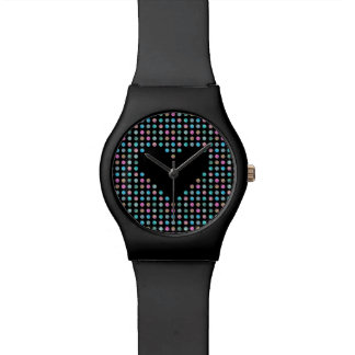 Polka dotted with black heart watch
