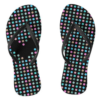 Polka dotted with one black heart thongs