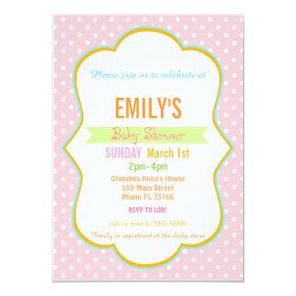 Polka Pink Peach Baby Shower Invite