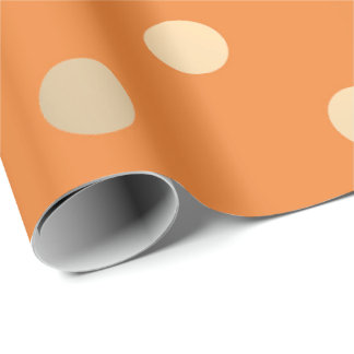 Polka Small Dots Orange Bricks Pastel Foxier Gold Wrapping Paper