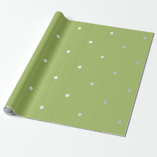 Polka Tiny Small Dots Gray Pea Green Greenly Wrapping Paper