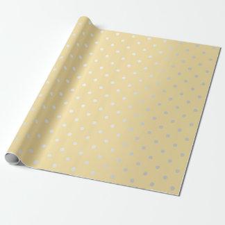 Polka Tiny Small Dots Gray Silver Yellow Pastel Wrapping Paper