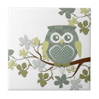 Polka Tree Owl Tile
