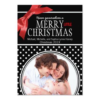 Polkadot and Ribbon Family Baby Photo 11 Cm X 16 Cm Invitation Card