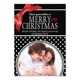 Polkadot and Ribbon Family Baby Photo 13 Cm X 18 Cm Invitation Card