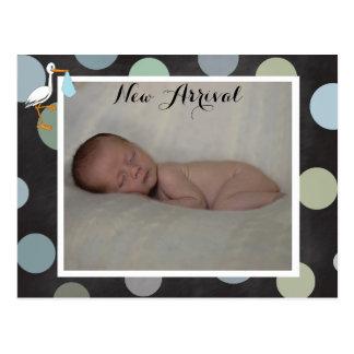 Polkadot Baby Boy Birth Announcement Postcard