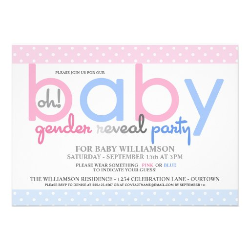 Polkadot Baby Gender Reveal Party Invitation Personalized Invite