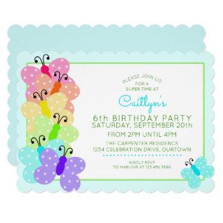 Polkadot Butterfly Birthday Party Invitation