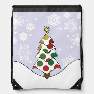Polkadot Christmas Tree Art Drawstring Bag