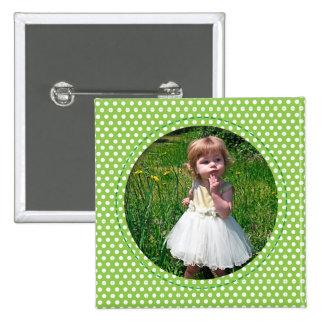 Polkadot Frame green Pinback Buttons