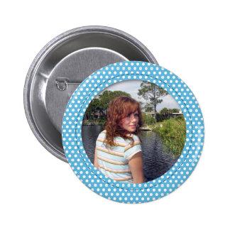 Polkadot Frame in blue Button