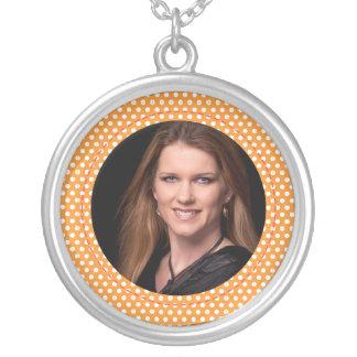 Polkadot Frame in orange Custom Necklace
