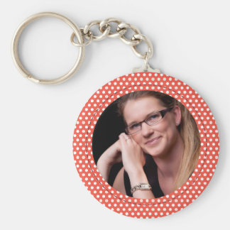 Polkadot Frame in red Basic Round Button Key Ring
