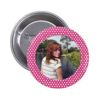 Polkadot Frame pink Pinback Buttons