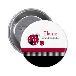 Polkadot Ladybug NAME TAG Personalized Button