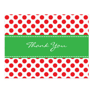 Polkadot/Ladybug Thank You Postcard-Green & Red Postcard