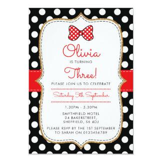 Polkadot Minnie themed birthday party invitation