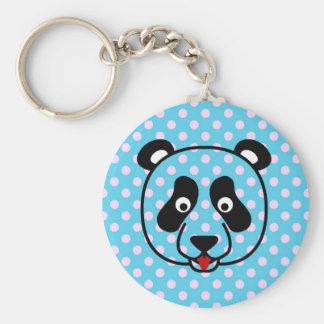 Polkadot Panda Face Key Chain