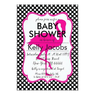 Polkadot Pink Flamingo Baby Shower Invitation