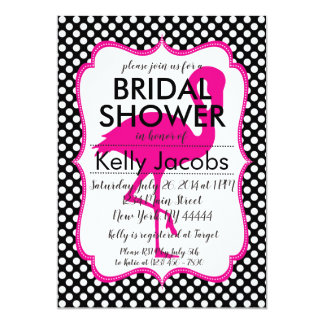 Polkadot Pink Flamingo Bridal Shower Invitation