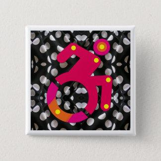 Polkadot Wheelchair Chic 15 Cm Square Badge