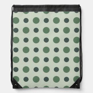 Polkadots Green Drawstring Backpack