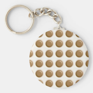 Polkadots - Milk Chocolate and White Chocolate Basic Round Button Key Ring