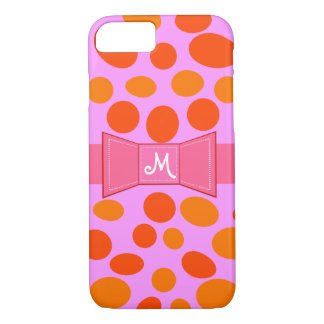 Polkadots Pink .  PERSONAL INITIAL ON A BOW iPhone 8/7 Case