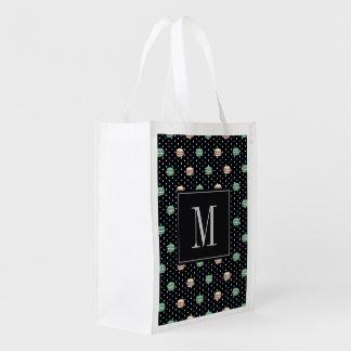 polkadots pink  yell owgreen macarons .ai reusable grocery bag